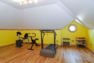 Eclectic Home Gym with Hardwood floors, Transom window, Exerpeutic 900XL Extended Capacity Recumbent Bike with Pulse