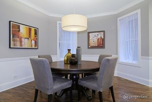 Traditional Dining Room with HomeBelle Set of 2 Grey Chenille Parsons Chairs, Crown molding, Pendant light, Wainscotting