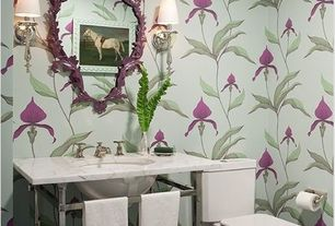 Contemporary Powder Room with Wall sconce, Simple marble counters, interior wallpaper, stone tile floors, Standard height