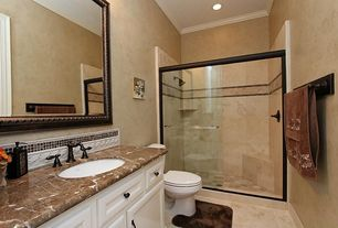 Mediterranean Full Bathroom with Undermount sink, Flat panel cabinets, Signature Hardware - Enid Widespread Bathroom Faucet