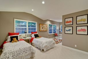 Modern Guest Bedroom with no bedroom feature, Standard height, can lights, Casement, Laminate flooring, Carpet, Paint