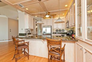 Traditional Kitchen with High ceiling, Breakfast bar, U-shaped, Hardwood floors, Simple Granite, flush light, Pendant light