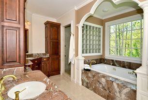 Mediterranean Full Bathroom with drop in bathtub, wall-mounted above mirror bathroom light, Standard height, no showerdoor