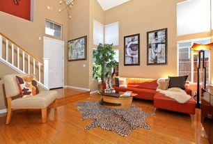Eclectic Living Room with Transom window, Casement, Hardwood floors, Cathedral ceiling, Chandelier, six panel door