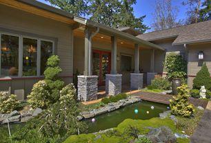 Landscape/Yard with exterior terracotta tile floors, picture window, exterior tile floors, Paint 2, Paint 3, Pond, Paint 1