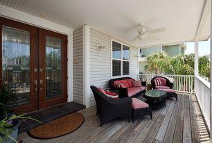 Craftsman Porch with Wrap around porch, Casement, Glass panel door, Overstock outdoor coconut fiber 'sunrise' door mat, Paint