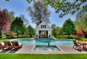 Traditional Swimming Pool with double-hung window, exterior interlocking pavers, Gazebo, exterior tile floors
