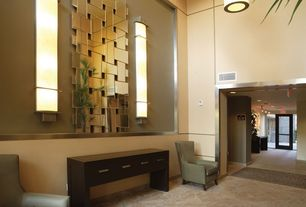 Contemporary Hallway with Pendant light, Carpet, limestone floors, Glass panel door, Cathedral ceiling, Wall sconce