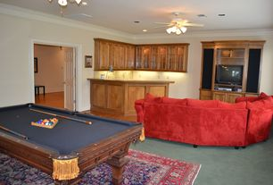Traditional Game Room with Carpet, Built-in bookshelf, Box ceiling, Mural, High ceiling, Crown molding, flush light