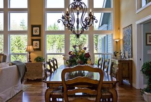 Eclectic Great Room with Wainscotting, High ceiling, Mural, Laminate floors, Chandelier, Carpet