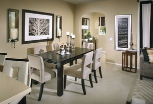 Contemporary Dining Room with Standard height, Carpet, Concrete tile