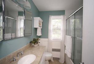 Cottage Full Bathroom with partial backsplash, Concrete floors, Complex Marble, double-hung window, Wainscotting, Full Bath