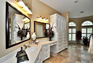 Traditional Full Bathroom with wall-mounted above mirror bathroom light, six panel door, Powder room, Flush, Arched window