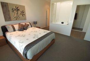 Contemporary Guest Bedroom with six panel door, Standard height, specialty window, Louvered door, Carpet
