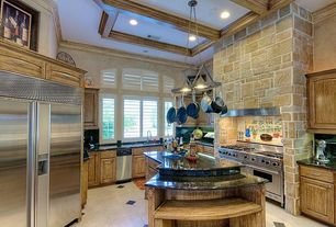 Mediterranean Kitchen with Kitchenaid stand mixer, Undermount sink, Simple granite counters, Framed Partial Panel, Mural