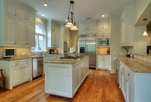 Traditional Kitchen with Arched window, High ceiling, U-shaped, Undermount sink, Kitchen island, flush light, Hardwood floors