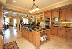 Traditional Kitchen with Kitchen island, U-shaped, Raised panel, Chandelier, Travisano trevi, Vinyl floors, French doors