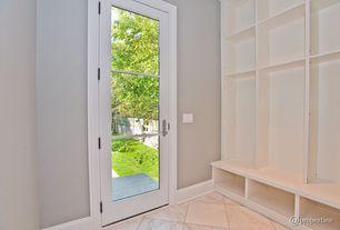 Contemporary Mud Room with simple granite tile floors, Glass panel door, stone tile floors, Standard height