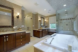 Contemporary Master Bathroom with Flat panel cabinets, MS International Galala Limestone, Rain shower, Window seat, Flush