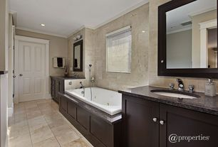 Contemporary 3/4 Bathroom with High ceiling, Flat panel cabinets, Formica counters, Mexican tile, Ceiling fan, Flush