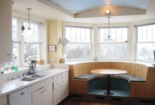 "Cottage Kitchen with Hardwood floors, European Cabinets, Frigidaire - 24"" tall tub built-in dishwasher - white, Flush"