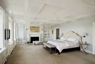 Contemporary Guest Bedroom with Box ceiling, Bamboo floors, Wainscotting, Pendant light, Built-in bookshelf