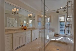 Traditional Full Bathroom with drop in bathtub, Casement, Glass panel door, Raised panel, can lights, Undermount sink, Shower