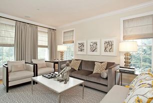 Contemporary Living Room with Laminate floors, Carpet, Casement, Standard height, Crown molding