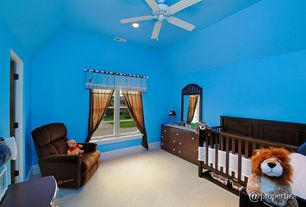 Modern Kids Bedroom with Carpet, Ceiling fan, Standard height, specialty window, can lights, no bedroom feature