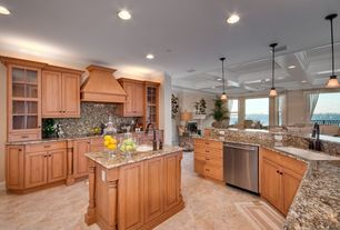Traditional Kitchen with U-shaped, Raised panel, Kitchen island, Complex Granite, Complex granite counters, Undermount sink