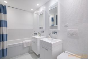Contemporary Full Bathroom with Signature Hardware - Rotunda Wall-Mount Bathroom Faucet, Frameless, tiled wall showerbath
