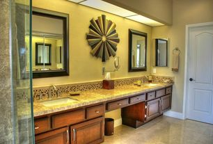 Modern 3/4 Bathroom with Double sink, Concrete tile , Raised panel, Complex granite counters, Undermount sink, specialty door
