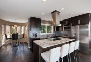 Contemporary Kitchen with full backsplash, Ceramic Tile, Daltile - eastern sand (stacked stone natural cleft ungauged) s319