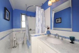 Cottage Full Bathroom with double-hung window, partial backsplash, large ceramic tile floors, Complex marble counters, Paint
