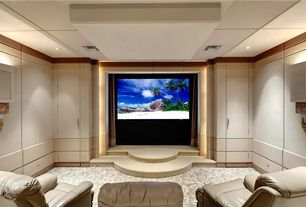 Modern Home Theater with Paint, can lights, Wall sconce, Paint 1, Standard height, Paint 2, Built in storage, Big screen tv