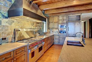 Rustic Kitchen with Elmwood Reclaimed Antique Heart Pine Faux Wood Beams, Exposed beam, Quartz counters, Undermount sink