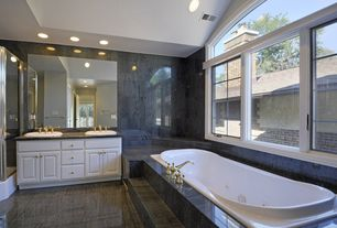Traditional Master Bathroom with Tiled shower, High ceiling, custome ceramic tile floors, Raised panel, Double sink, Jetted