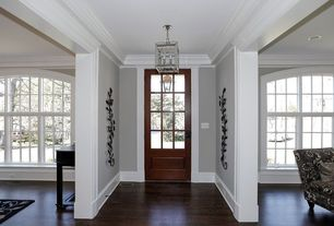 Traditional Entryway with Paint, Standard height, Transglobe lighting 1 light foyer pendant, flush light, Hardwood floors
