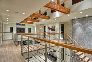 Contemporary Staircase with Loft, Shoji door, Floating staircase, Hardwood floors, Cathedral ceiling, Exposed beam