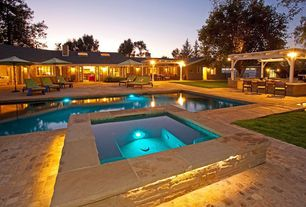 Contemporary Swimming Pool with exterior stone floors, French doors, Pool with hot tub, Trellis