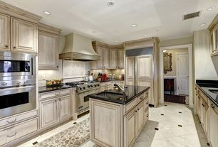 Traditional Kitchen with Stone Tile, Undermount sink, Cabot countertops granite countertop set emerald green, Kitchen island