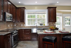 Traditional Kitchen with Stainless steel apron sink - double basin, Flat panel cabinets, Breakfast bar, Farmhouse sink