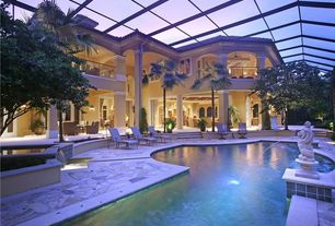 Mediterranean Swimming Pool with Indoor pool, Casement, Fountain, Skylight, Raised beds, Deck Railing, Pool with hot tub