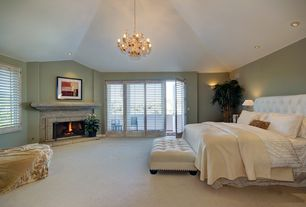 Traditional Master Bedroom with Interior plantation shutters, Jubilee Collection Leaf and Flower 5 Light Chandelier, Carpet