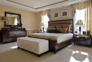 Modern Guest Bedroom with Standard height, specialty window, Carpet, can lights