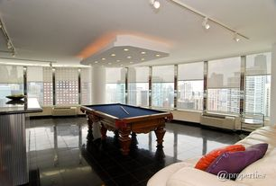 Contemporary Game Room with flush light, Ceiling fan