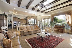 Eclectic Living Room with Crown molding, Ceiling fan, High ceiling, French doors, Chandelier, Arched window, Exposed beam