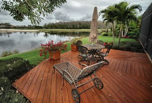Traditional Deck with Gate, Chaise lounge, Chaise lounges, 5 piece outdoor dining set, Pond