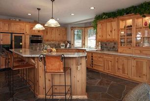 Rustic Kitchen with Indian wrought iron furniture - wrought iron arm chair, Undermount sink, L-shaped, Slate tile floor