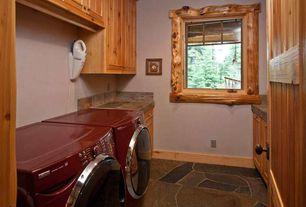 Rustic Laundry Room with Standard height, laundry sink, slate floors, Casement, Drop-in sink, Built-in bookshelf
